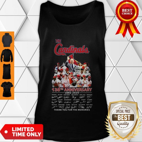 Top The St. Louis Cardinals 138th Anniversary 1882-2020 Signatures Thank You For The Memories Tank Top