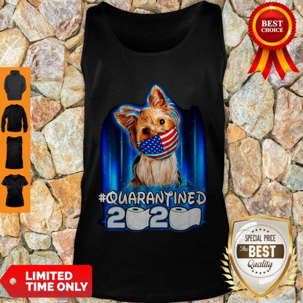 Funny Yorkshire Terrier Face Mask American Flag Quarantined 2020 Toilet Paper Tank Top
