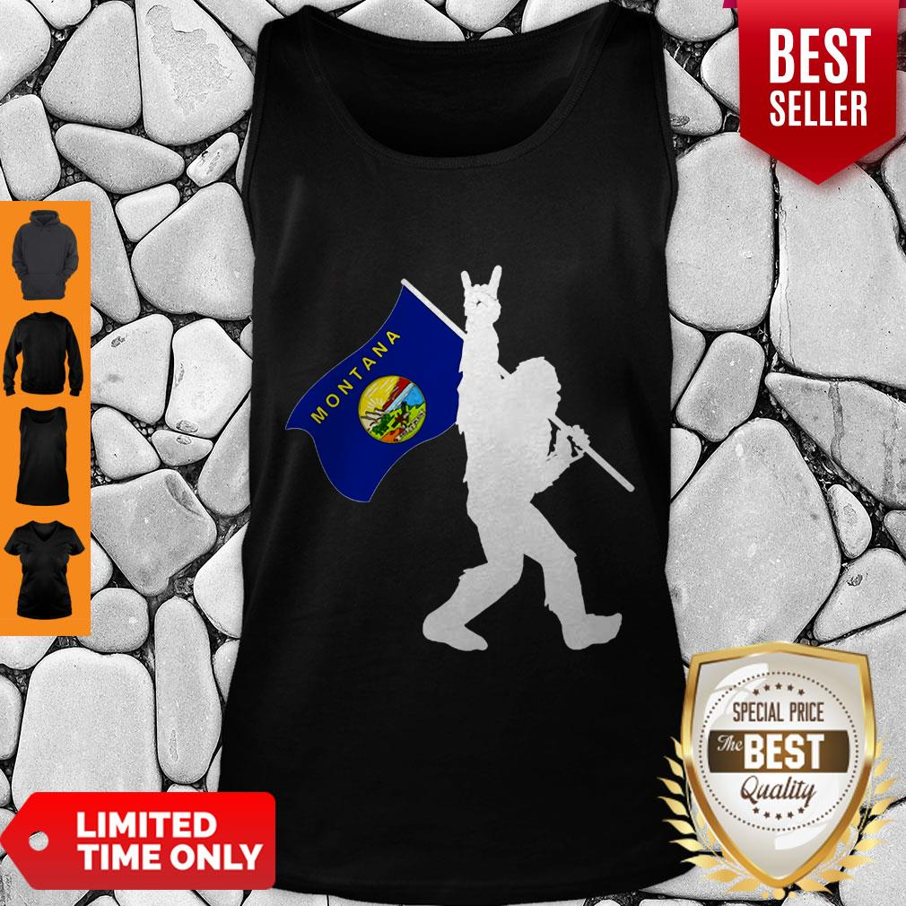 Pretty Bigfoot Middle Finger Montana State Flag Tank Top