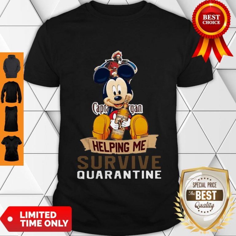 Top Mickey Mouse Captain Morgan Helping Me Survive Quarantine Shirt