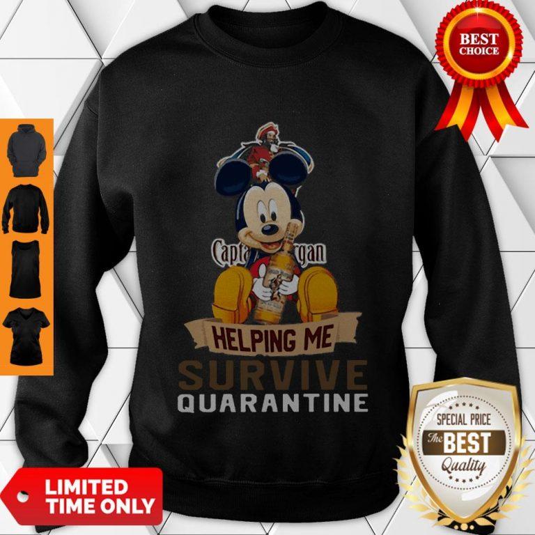 Top Mickey Mouse Captain Morgan Helping Me Survive Quarantine Sweatshirt