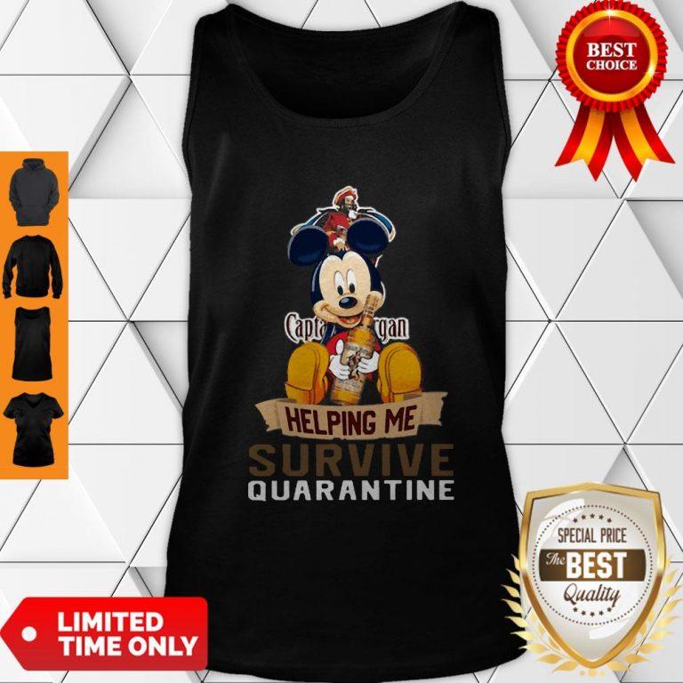 Top Mickey Mouse Captain Morgan Helping Me Survive Quarantine Tank Top