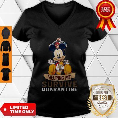 Top Mickey Mouse Captain Morgan Helping Me Survive Quarantine V-neck