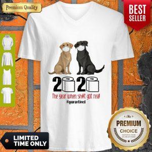 Good Labrador Retriever Face Mask 2020 The Year When Shit Got Real Quarantined V-neck