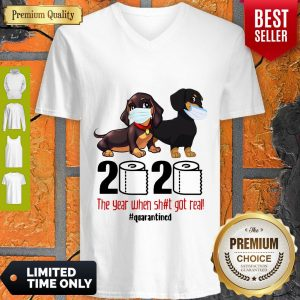 Funny Dachshund Face Mask 2020 The Year When Shit Got Real Quarantined V-neck