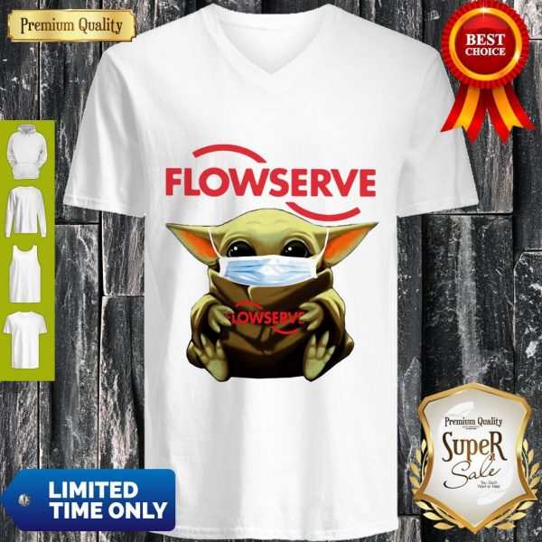 Top Baby Yoda Mask Flowserve I Can't Stay At Home Coronavirus V-neck