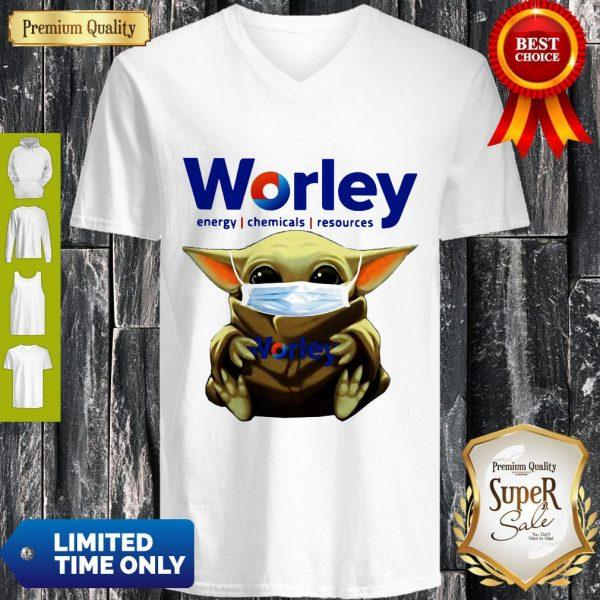 Good Baby Yoda Mask Worley Energy Coronavirus V-neck