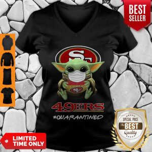 Pretty Baby Yoda Mask San Francisco 49ers #Quarantined V-neck