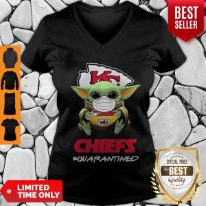Official Baby Yoda Mask Kansas City Chiefs #Quarantined Coronavirus V-neck