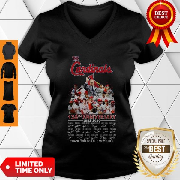 Top The St. Louis Cardinals 138th Anniversary 1882-2020 Signatures Thank You For The Memories V-neck