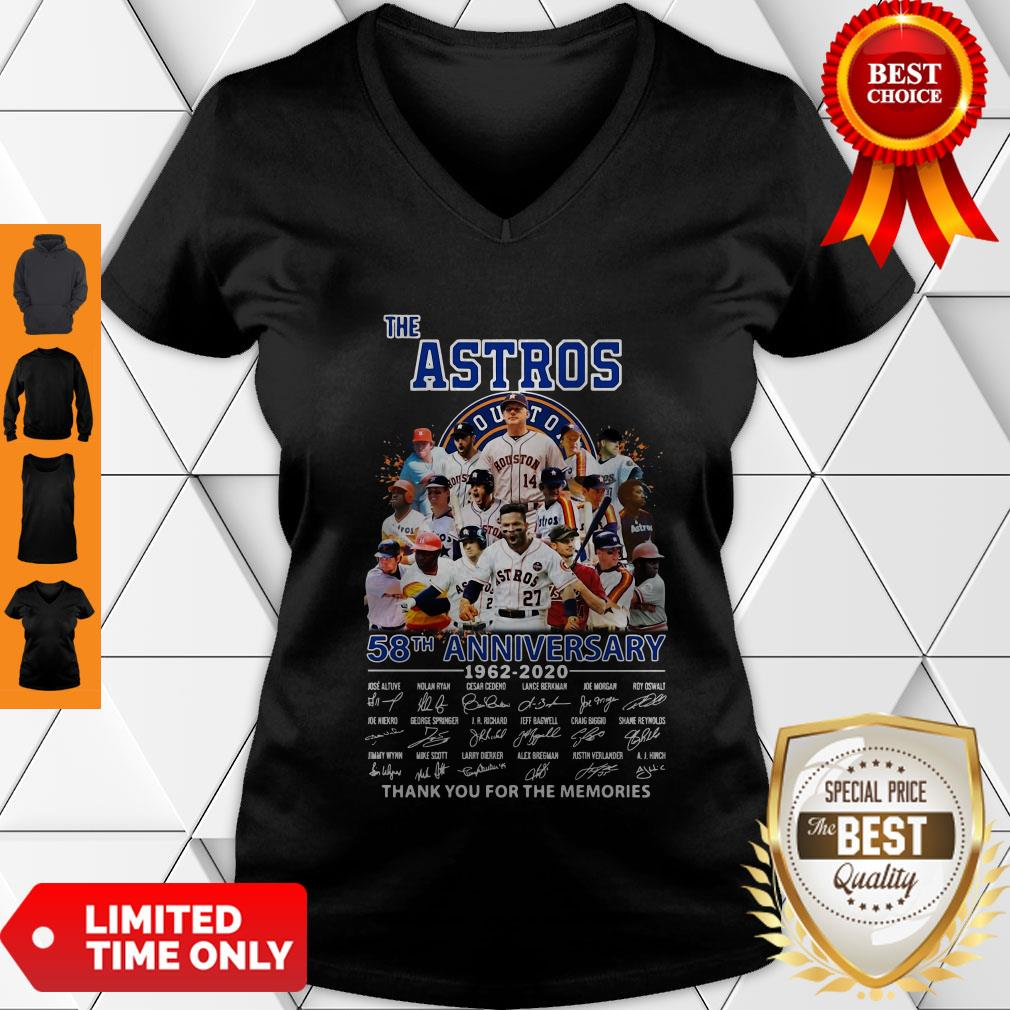 Good The Houston Astros 58th Anniversary 1962-2020 Signatures Thank You For The Memories V-neck