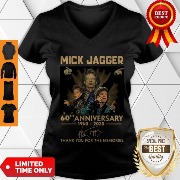 Funny Mick Jagger 60th Anniversary 1960-2020 Signatures Thank You For The Memories V-neck