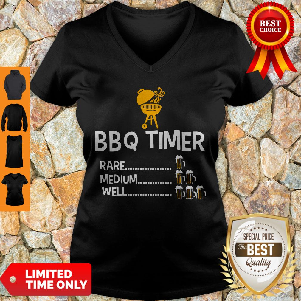 Good BBQ Timer Rare Medium Well Beer Counter Fun Grill Chef V-neck