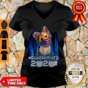 Funny Yorkshire Terrier Face Mask American Flag Quarantined 2020 Toilet Paper V-neck