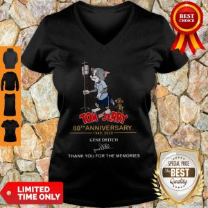 Official Tom And Jerry 80th Anniversary 1940 2020 Gene Deitch Thank You For The Memories Signature V-neck