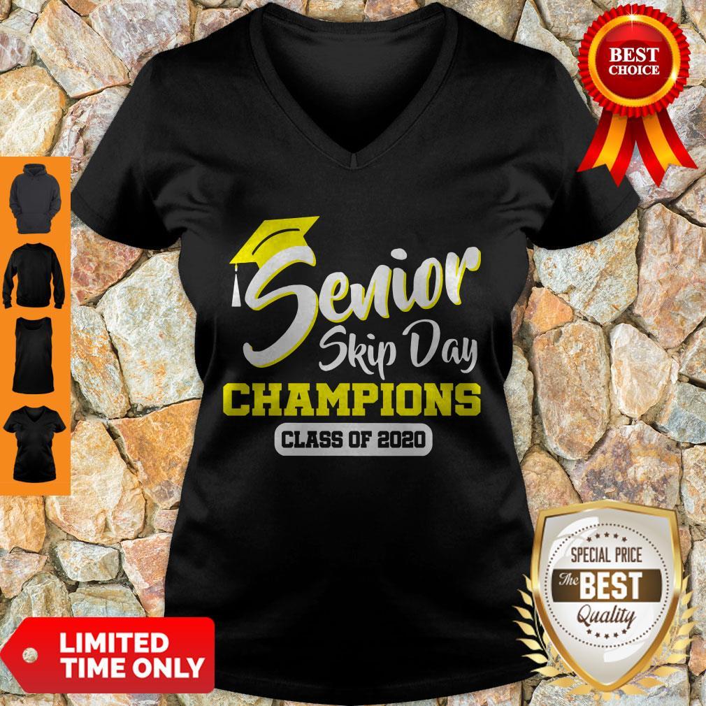Top Senior 2020 Skip Day Champion Class Of 2020 Red Black V-neck