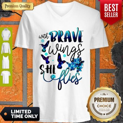 Pretty With Brave Wings She Flies V-neck