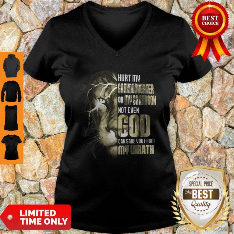 Top Lion Hurt My Granddaughter Or My Grandson Not Even God V-neck