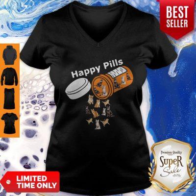 Pretty Happy Pills Version Cats V-neck