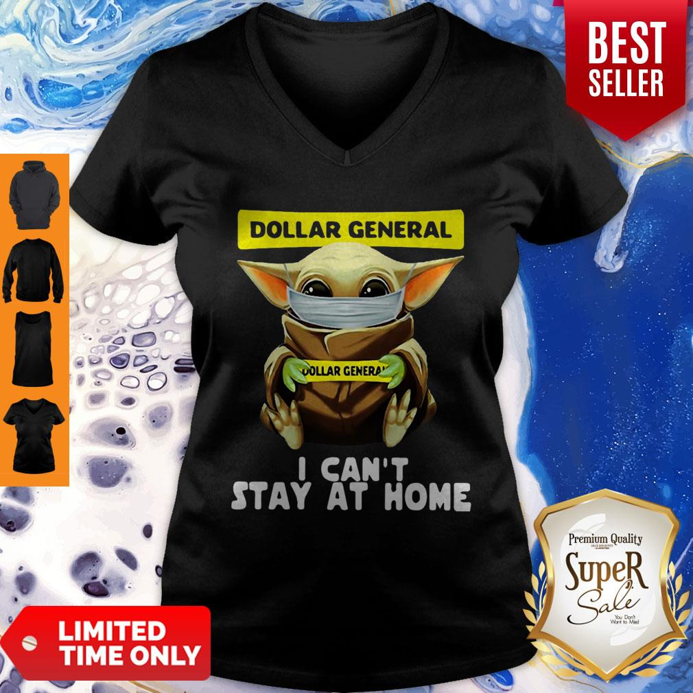 Top Star Wars Baby Yoda Face Mask Hug Dollar General I Can't Stay At Home V-neck
