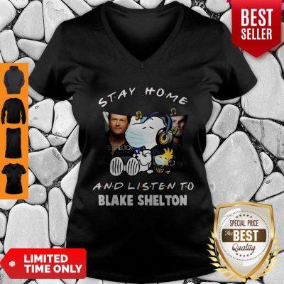 Top Snoopy Woodstock Mask Stay Home Blake Shelton V-neck