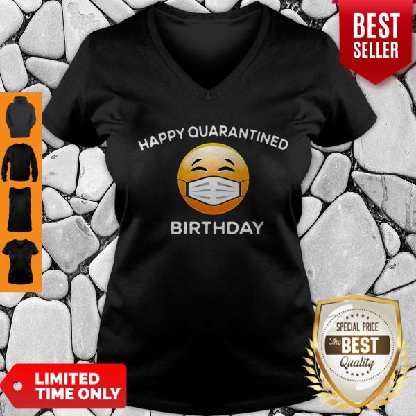 Premium Emoji Happy Quarantine Birthday Coronavirus V-neck