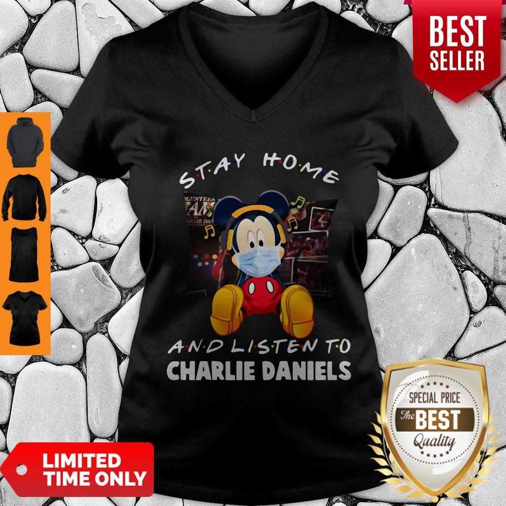 Official Mickey Mouse Stay Home And Listen To Charlie Daniels Corona Virus V-neck