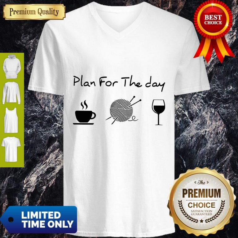 Top Plan For The Day Coffee Knitting Wine V-neck
