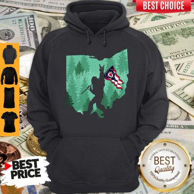 Funny Bigfoot Rock And Roll Ohio Flag In The Forest Hoodie