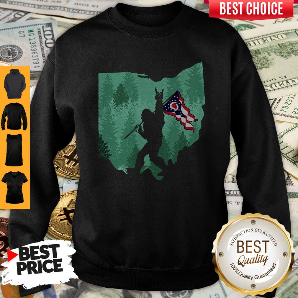 Funny Bigfoot Rock And Roll Ohio Flag In The Forest Sweatshirt