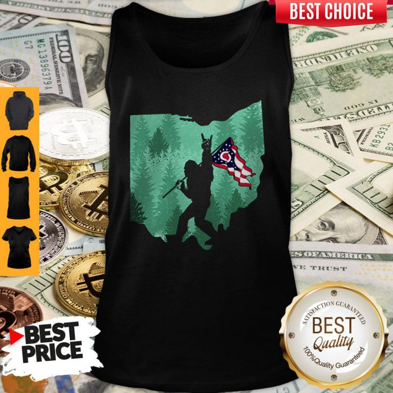 Funny Bigfoot Rock And Roll Ohio Flag In The Forest Tank Top