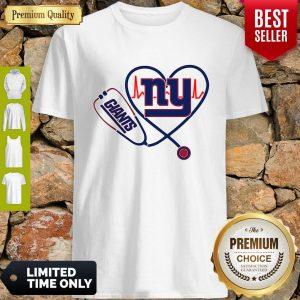Funny Nurse New York Giants Stethoscope Heartbeat Shirt