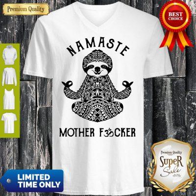 Funny Sloth Yoga Namaste Mother Fucked V-neck