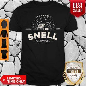 Funny Snell Family Farm Logo from Ozark Baseball Shirt