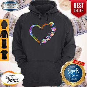 Good Dog Paw Heart Rainbow Hoodie