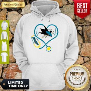 Premium Love San Jose Sharks Heart Stethoscope Hoodie