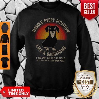 Nice Handle Every Situation Like A Dachshund Pitbull Dog Sweatshirt