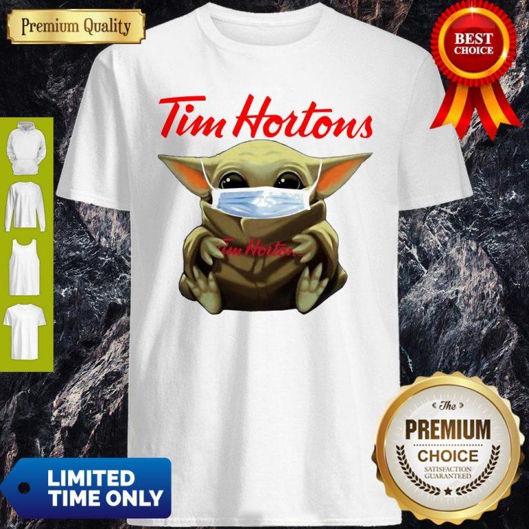 Nice Star Wars Baby Yoda Hug Tim Hortons Mask Covid-19 T-Shirt
