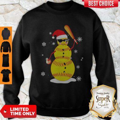Official Christmas Softball Bat Snowman Santa Snowflake Youth Sweatshirt