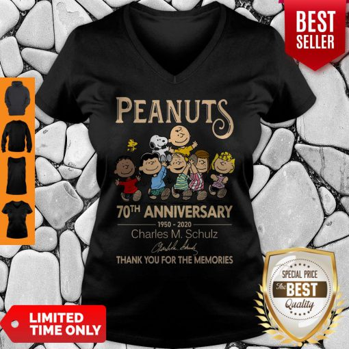 Official Peanuts 70th Anniversary 1950-2020 Charles M Schulz Snoopy V-neck