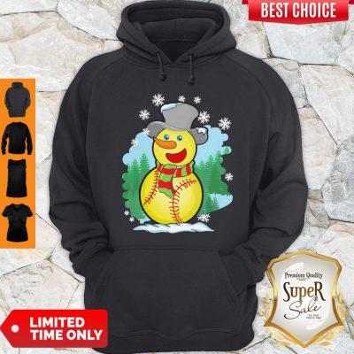 Premium Softball Snowman Christmas Hoodie