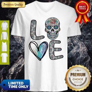 Pro Love Sugar Skull Diamonds V-Neck