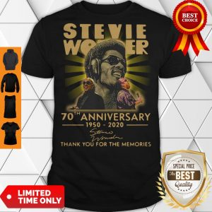 Funny Stevie Wonder 70th Anniversary 1950-2020 Signature Thank You For The Memories Shirt