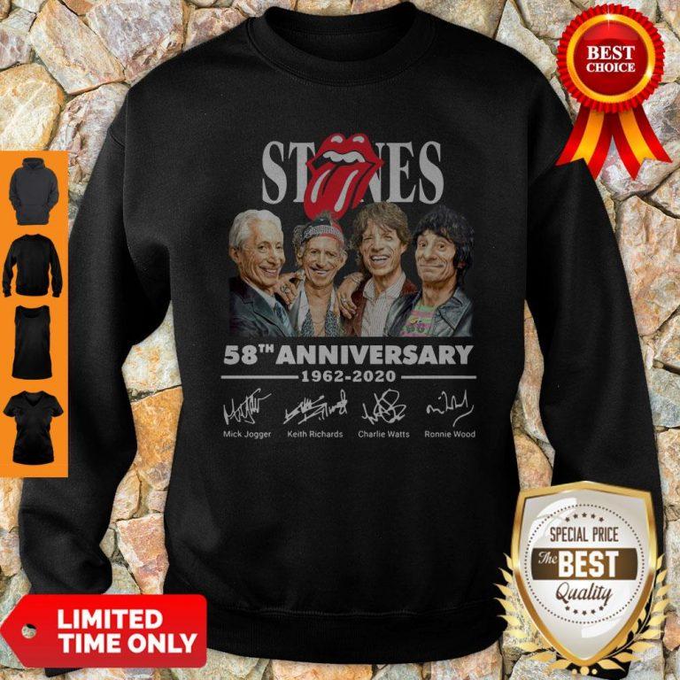 Top Rolling Stones 58th Anniversary 1962 2020 Signatures Sweatshirt