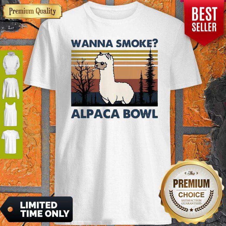 Top Llama Wanna Smoke Alpaca Bowl Vintage Shirt
