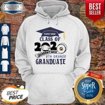 Top Name Here Class Of 2020 Quarantined 8th Grande Graduate Navy Blue Hoodie