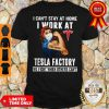 Top Strong Woman Face Mask I Can't Stay At Home I Work At Tesla Factory We Fight When Others Can't Shirt