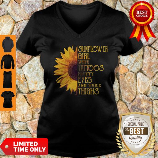 Funny Sunflower Girl With Tattoos Pretty Eyes And Thick Thighs V-neck
