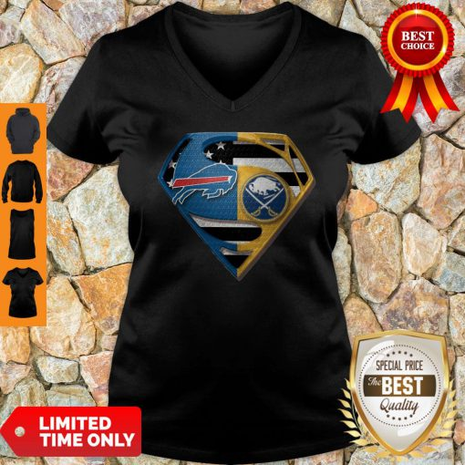 Pretty Superman Buffalo Bills And Buffalo Sabres V-neck