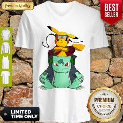 Pretty Pikachu Bulbasaur Pokemon Naruto Parody V-neck